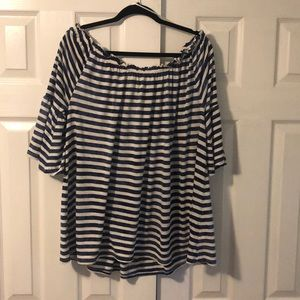 Off the shoulder blue and off white top